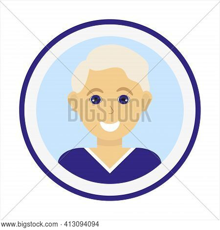 Smiling Boy Face With Fair Hair And Wearing Blue Sweater. Male Face. Blond Man Avatar. Handsome Man