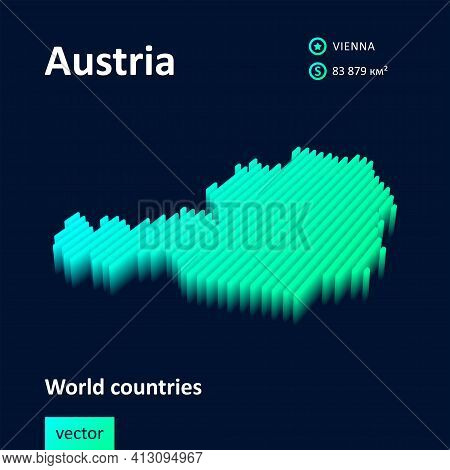 Stylized Neon Digital Isometric Striped Vector Austria Map With 3d Effect. Map Of Austria Is In Gree