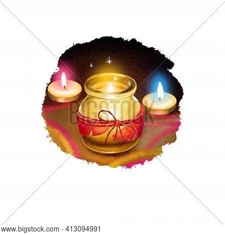 Happy Diwali Digital Art Illustration Isolated On White Background. Indian Festival Of Lights. Deepa