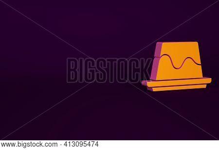Orange Pudding Custard With Caramel Glaze Icon Isolated On Purple Background. Minimalism Concept. 3d