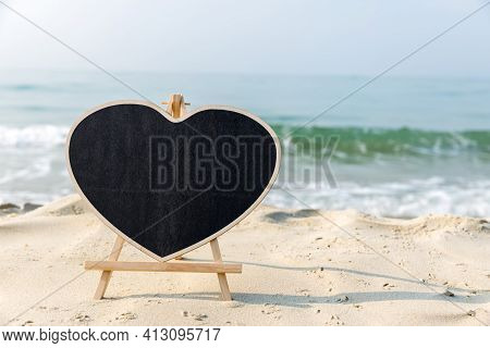 Chalkboard Heart Shape With A Wooden Frame Blank Chalk Board  Heart Shape For Write Text, Message Or