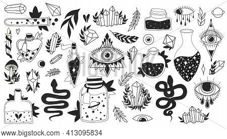Witchcraft Set. Magic Esoteric Symbols Collection. Black Isolated Icons On White Background. Evil Ey