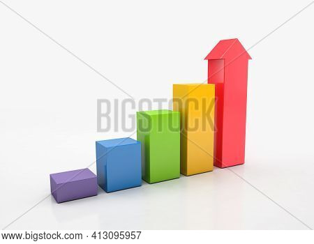 Ascending Graph For Growth Success, Economy Graph, Histograms, Statistics. 3d Rendering