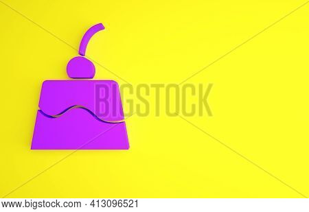 Purple Pudding Custard With Caramel Glaze Icon Isolated On Yellow Background. Minimalism Concept. 3d