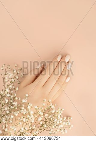 Female Hands Adorned With Small White Flowers On Pastel Background For Decoration Design. Vintage Pi