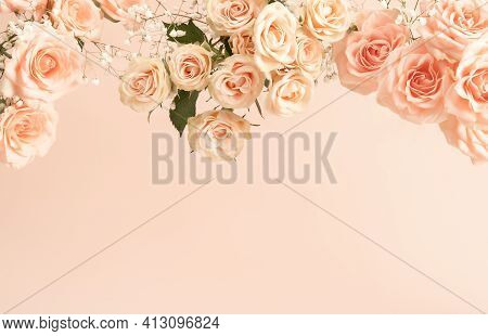 Beautiful Pink Tea Roses On Pastel Background In Retro Style. Romantic Holiday Concept. Flat Lay Sty