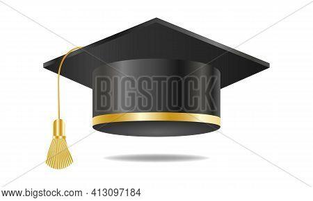 Black Graduation Cap With Gold Element. Congratulations On Graduation. Vector