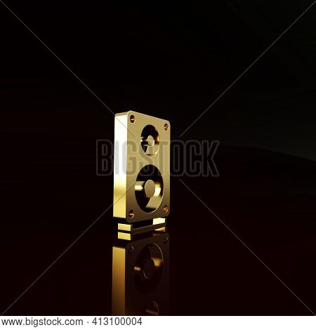Gold Stereo Speaker Icon Isolated On Brown Background. Sound System Speakers. Music Icon. Musical Co