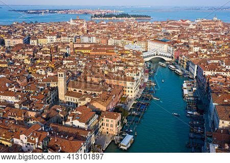 Venice, Rialto Bridge and Grand canal  from the sky, aerial view