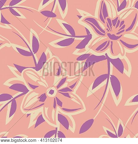 Vector Ecru Pink Violet Flowers Seamless Pattern