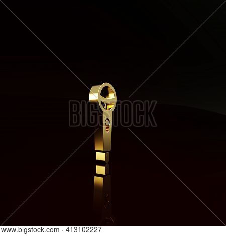 Gold Microphone Icon Isolated On Brown Background. On Air Radio Mic Microphone. Speaker Sign. Minima