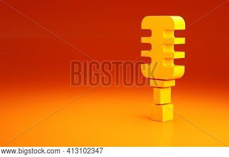 Yellow Microphone Icon Isolated On Orange Background. On Air Radio Mic Microphone. Speaker Sign. Min