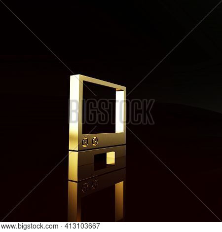 Gold Voice Assistant Icon Isolated On Brown Background. Voice Control User Interface Smart Speaker.
