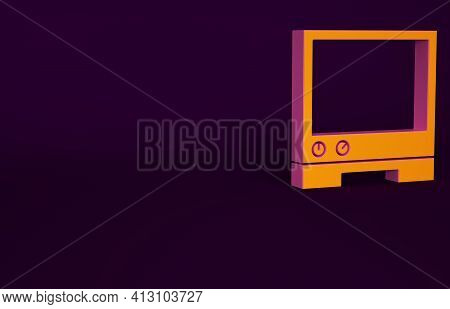 Orange Voice Assistant Icon Isolated On Purple Background. Voice Control User Interface Smart Speake