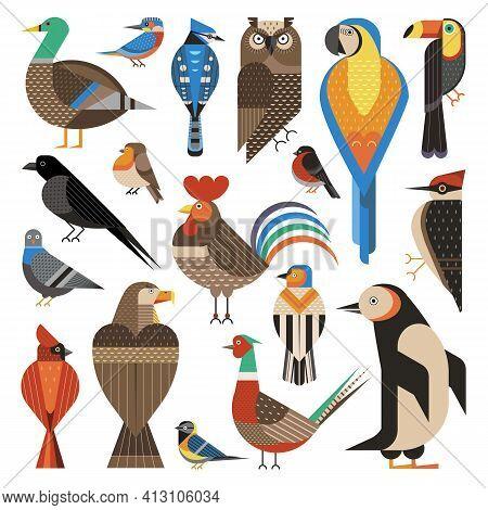 Widespread Common Birds Geometric Set In Flat