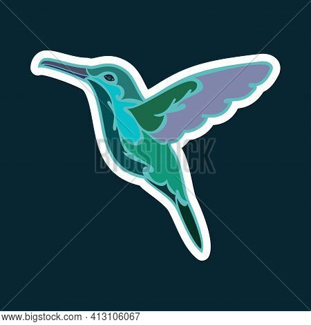 Hand-drawn Abstract Portrait Of A Hummingbird. Sticker. Colorful Vector Stylized Illustration Isolat