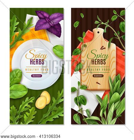 Herbs Leafy Salad Greens Spices 2 Realistic Healthy Food Banners With Basil Thyme Spinach Isolated V