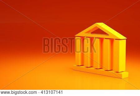 Yellow Parthenon From Athens, Acropolis, Greece Icon Isolated On Orange Background. Greek Ancient Na