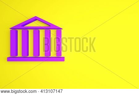 Purple Parthenon From Athens, Acropolis, Greece Icon Isolated On Yellow Background. Greek Ancient Na