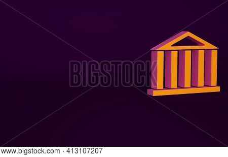 Orange Parthenon From Athens, Acropolis, Greece Icon Isolated On Purple Background. Greek Ancient Na