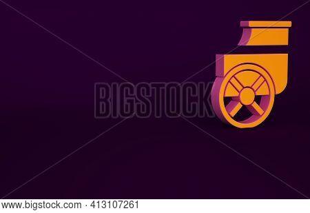 Orange Ancient Greece Chariot Icon Isolated On Purple Background. Minimalism Concept. 3d Illustratio