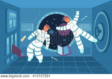 Astronaut Weightlessness Flat Composition With View Of Two Cosmonauts Floating Inside Spacecraft Wit