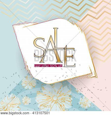 Beauty Sale Banner Elegant Luxury Golden Sale Text On A Summer Flowers Specks Background Luxury Them