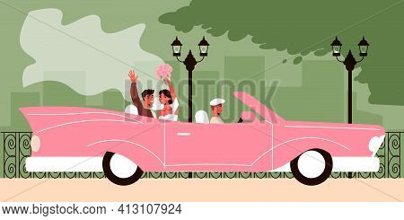 Wedding Car Composition With Outdoor Landscape With Newly Married Couple Sitting In The Pink Cabrio