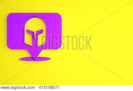 Purple Greek Helmet Icon Isolated On Yellow Background. Antiques Helmet For Head Protection Soldiers