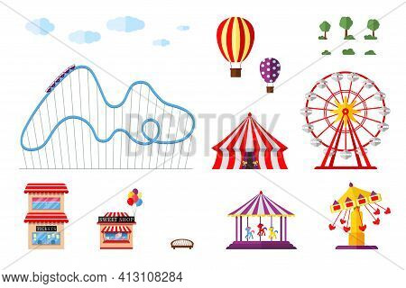 Amusement Park With Circus Carousels Roller Coaster And Attractions Icon Set. Fun Fair And Carnival