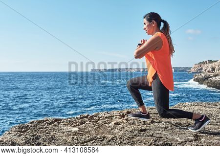 Latin Woman, Middle-aged, Wearing Sportswear, Training, Doing Physical Exercises, Plank, Sit-ups, Cl