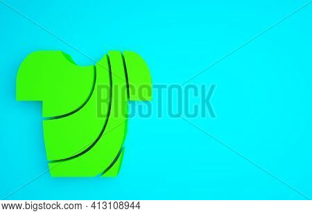 Green Cycling T-shirt Icon Isolated On Blue Background. Cycling Jersey. Bicycle Apparel. Minimalism