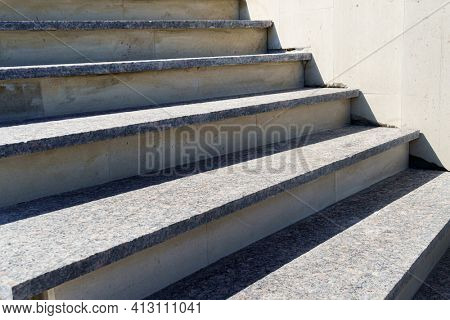 marble and concrete stairs under construction, front entrance to the house