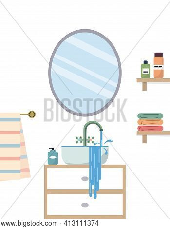 Bathroom Interior With Sink And Mirror. Blockage, Water Is Leaking Out Of The Sink. Vector Illustrat