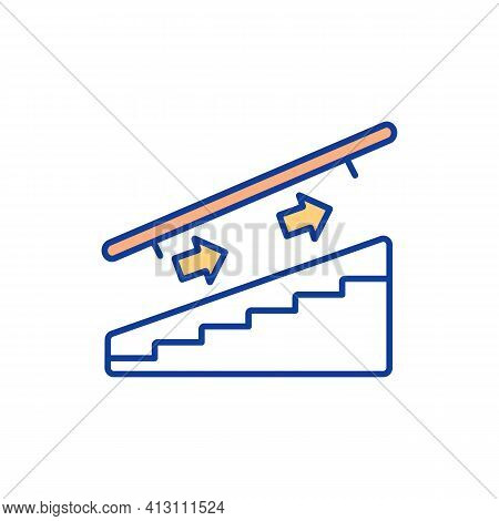 One-way Traffic On Staircase Rgb Color Icon. Unidirectional Traffic. Ascending And Descending Withou