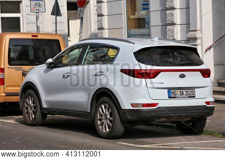 North Rhine-westphalia, Germany - September 16, 2020: Kia Sportage Compact Crossover Suv Parked In G