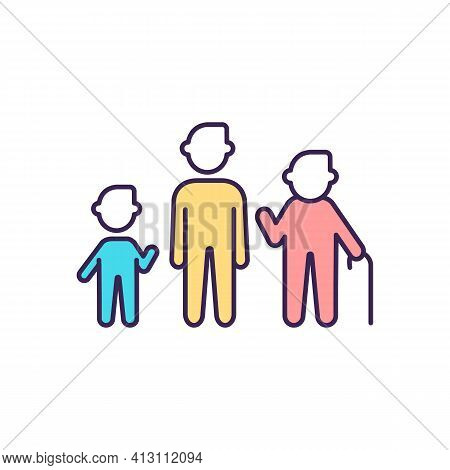 Growth Stages Rgb Color Icon. Biological Age. Aging Process. Childhood. Age And Gender Differences.
