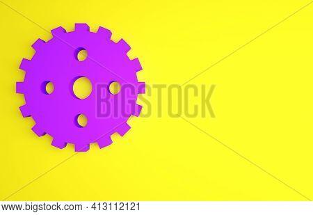 Purple Bicycle Sprocket Crank Icon Isolated On Yellow Background. Minimalism Concept. 3d Illustratio