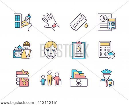 Disability Insurance Rgb Color Icons Set. Falls, Slips Accident. Carpal Tunnel Syndrome. Risky Behav