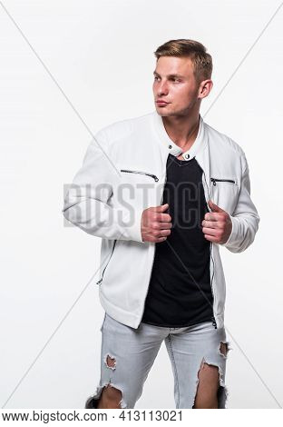 His Sense Of Style Never Takes A Break. Handsome Man In Casual Style. Menswear Store. Modern Trend.