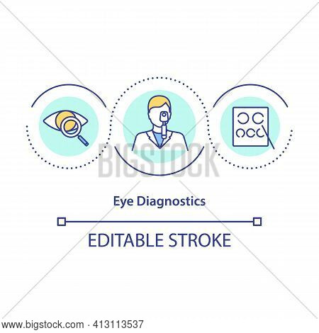 Eye Diagnostics Concept Icon. Assess Vision And Ability To Focus Idea Thin Line Illustration. Tests