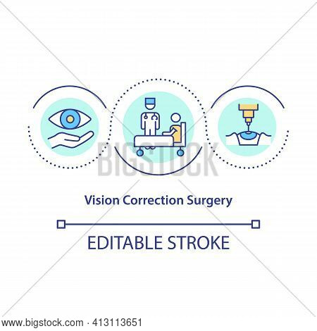 Vision Correction Surgery Concept Icon. Refractive And Laser Idea Thin Line Illustration. Glasses An