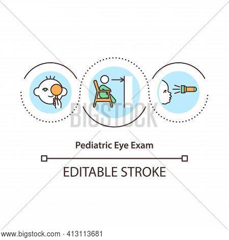 Pediatric Eye Exam Concept Icon. Pediatric Ophthalmologist Idea Thin Line Illustration. Vision Probl