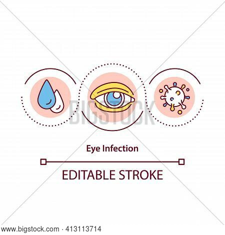 Eye Infection Concept Icon. Conjunctiva And Cornea Idea Thin Line Illustration. Pain And Discomfort