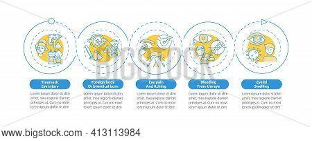 Emergency Eye Exam Reasons Vector Infographic Template. Traumatic Eye Injury Presentation Design Ele