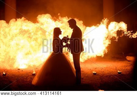 Wedding Couple In Medieval Costumes With Vampire Style Make-up