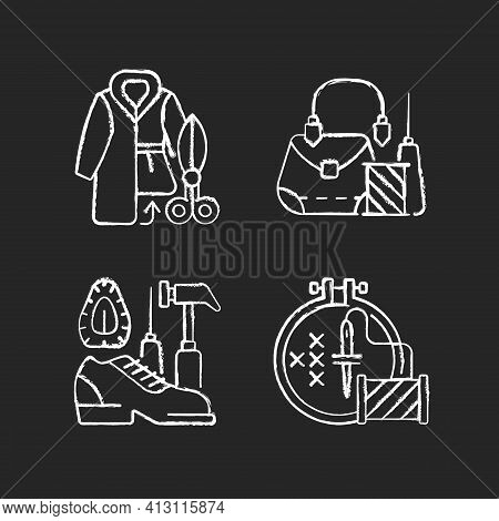 Clothes Repair Chalk White Icons Set On Black Background. Fur Outerwear Resizing. Garment Restoratio