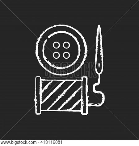 Button Repair And Replacement Chalk White Icon On Black Background. Needle With Thread And Spool. Cl