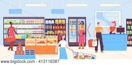 People In Supermarket. Grocery Shop Interior With Cashier And Customers With Carts And Basket Buying