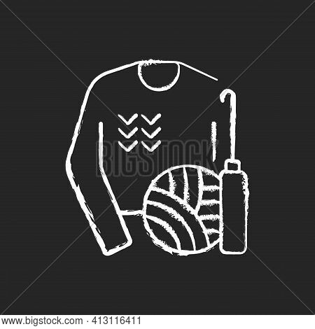 Knitwear Alteration And Repair Chalk White Icon On Black Background. Knitted Sweater. Hobby And Craf
